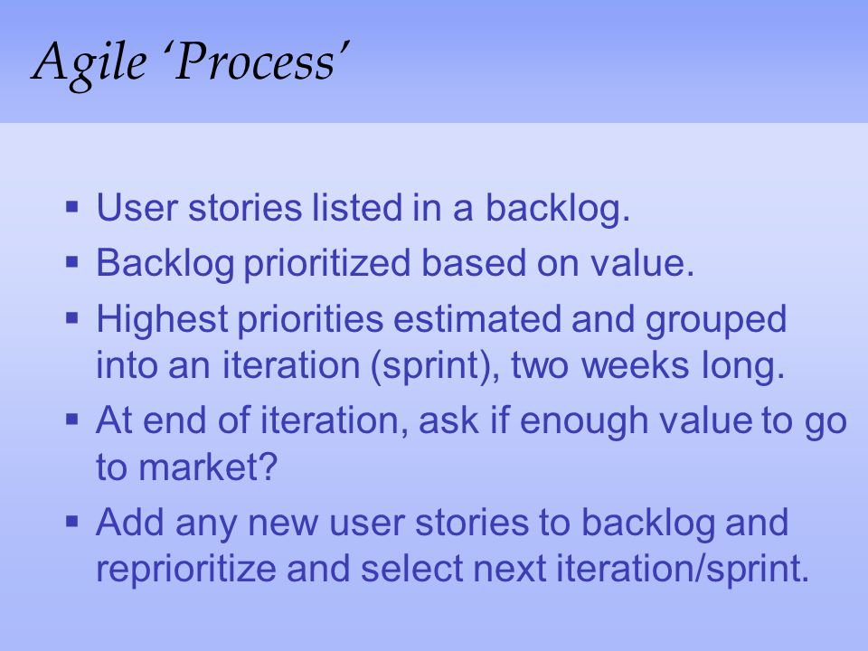 Agile 'Process' User stories listed in a backlog.