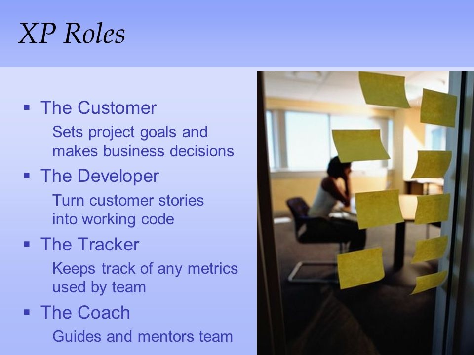 XP Roles The Customer The Developer The Tracker The Coach