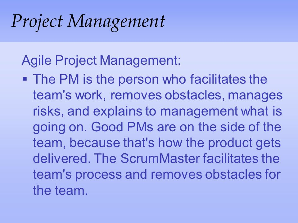 Project Management Agile Project Management:
