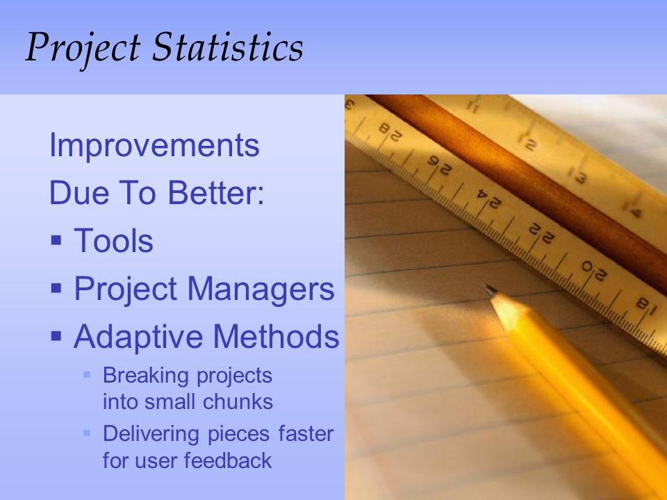 Project Statistics Improvements Due To Better: Tools Project Managers