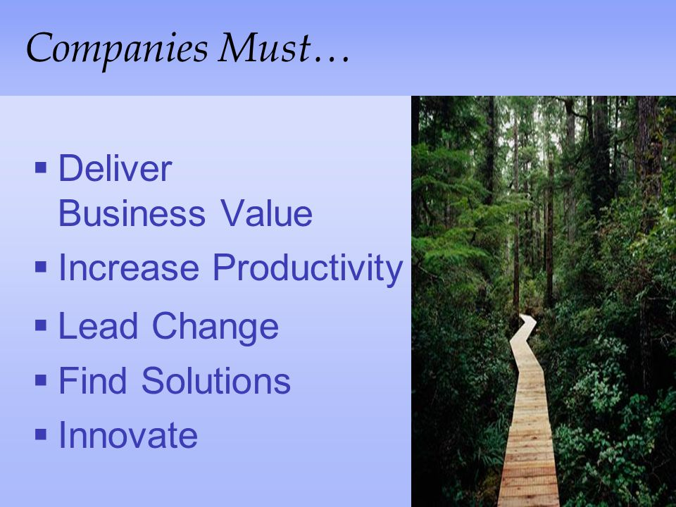Companies Must… Deliver Business Value Increase Productivity