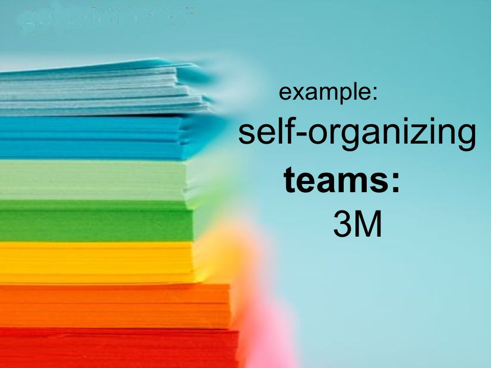 example: self-organizing teams: 3M