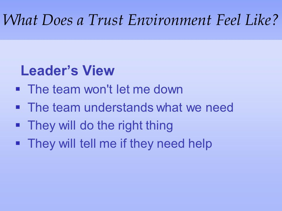 What Does a Trust Environment Feel Like