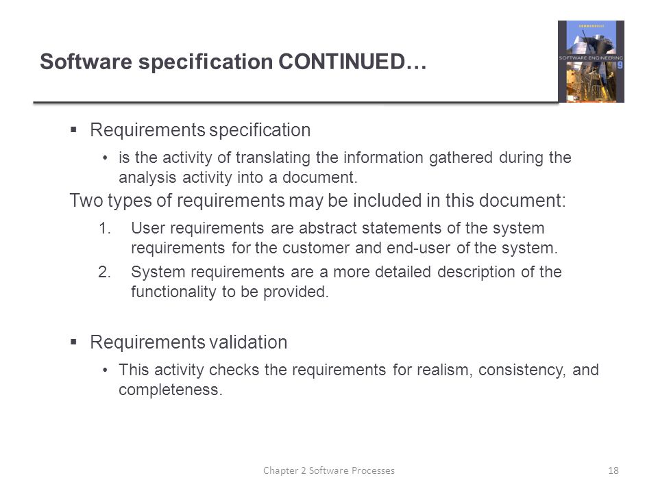 Software specification CONTINUED…