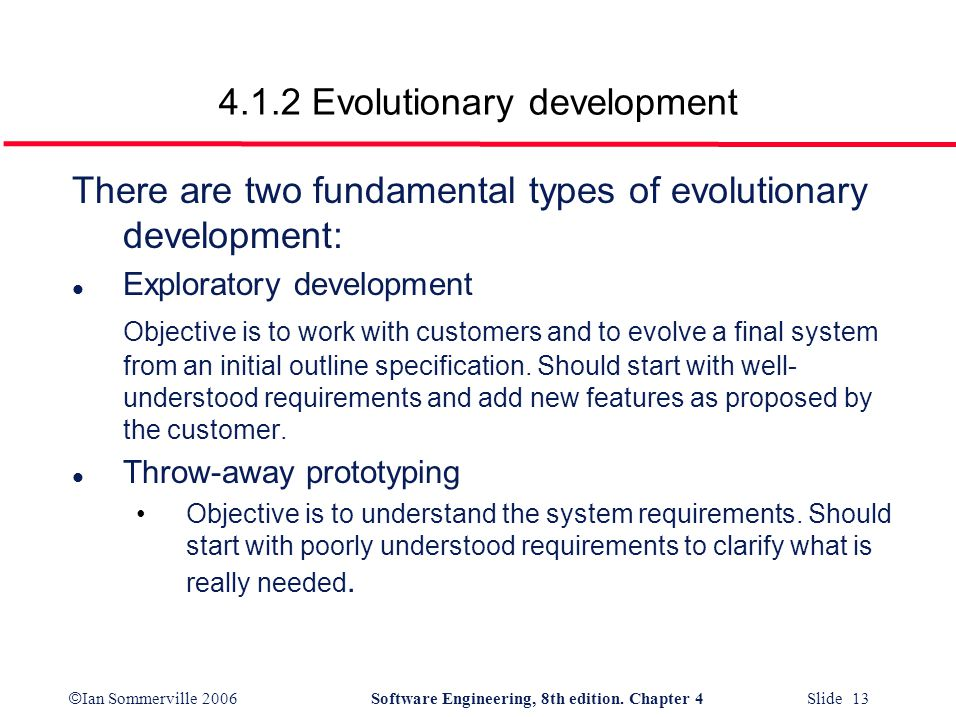 4.1.2 Evolutionary development