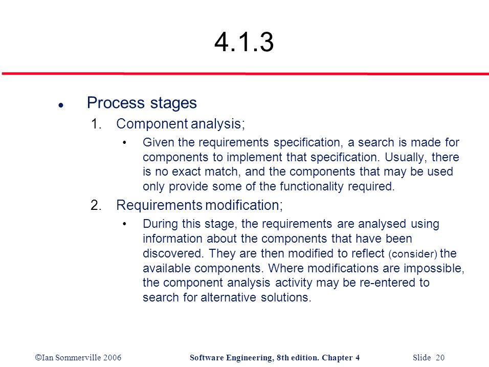 4.1.3 Process stages Component analysis; Requirements modification;