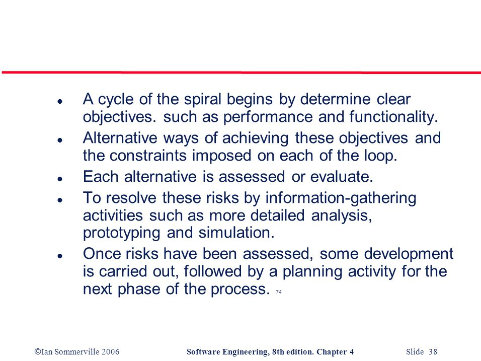 A cycle of the spiral begins by determine clear objectives