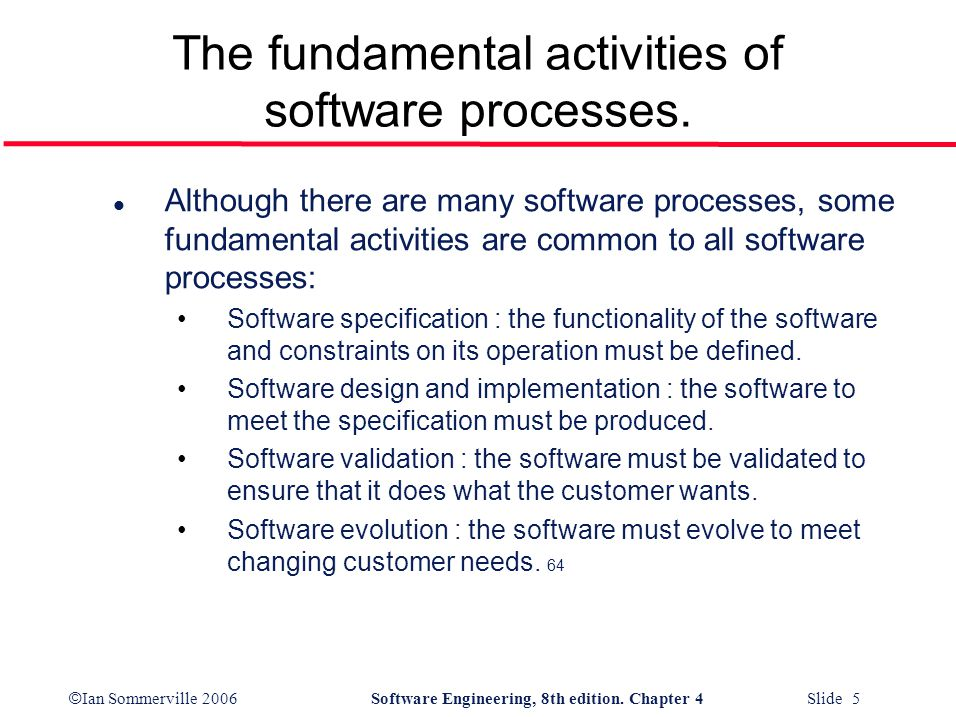 The fundamental activities of software processes.