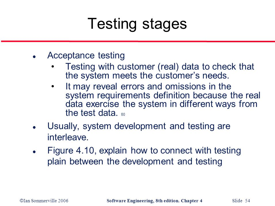 Testing stages Acceptance testing