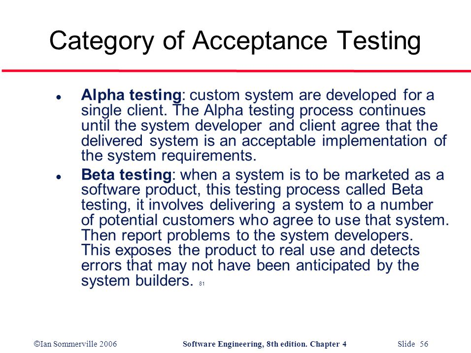 Category of Acceptance Testing