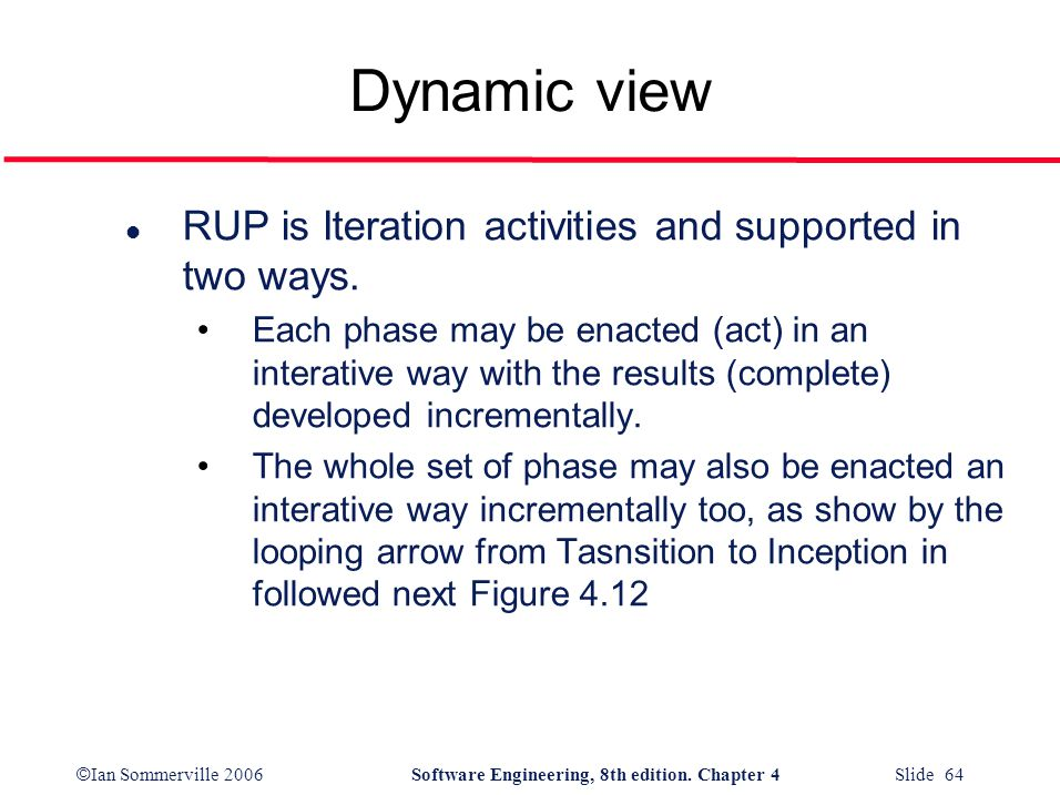 Dynamic view RUP is Iteration activities and supported in two ways.