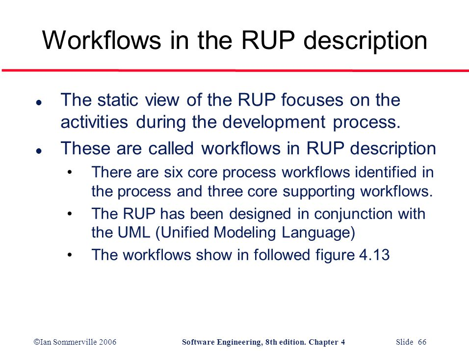 Workflows in the RUP description