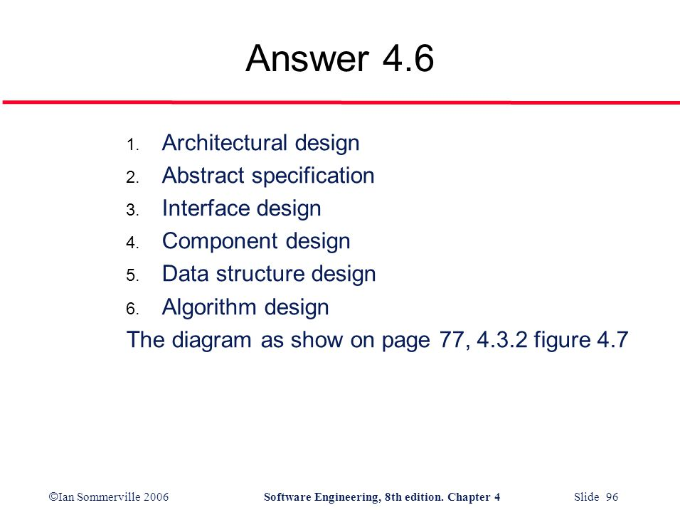 Answer 4.6 Architectural design Abstract specification