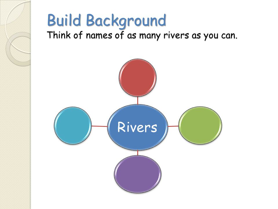 Build Background Think of names of as many rivers as you can.