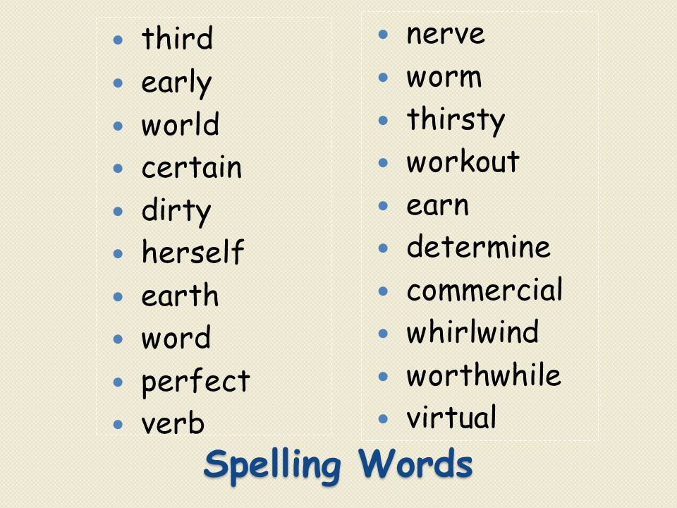 Spelling Words nerve third worm early thirsty world workout certain