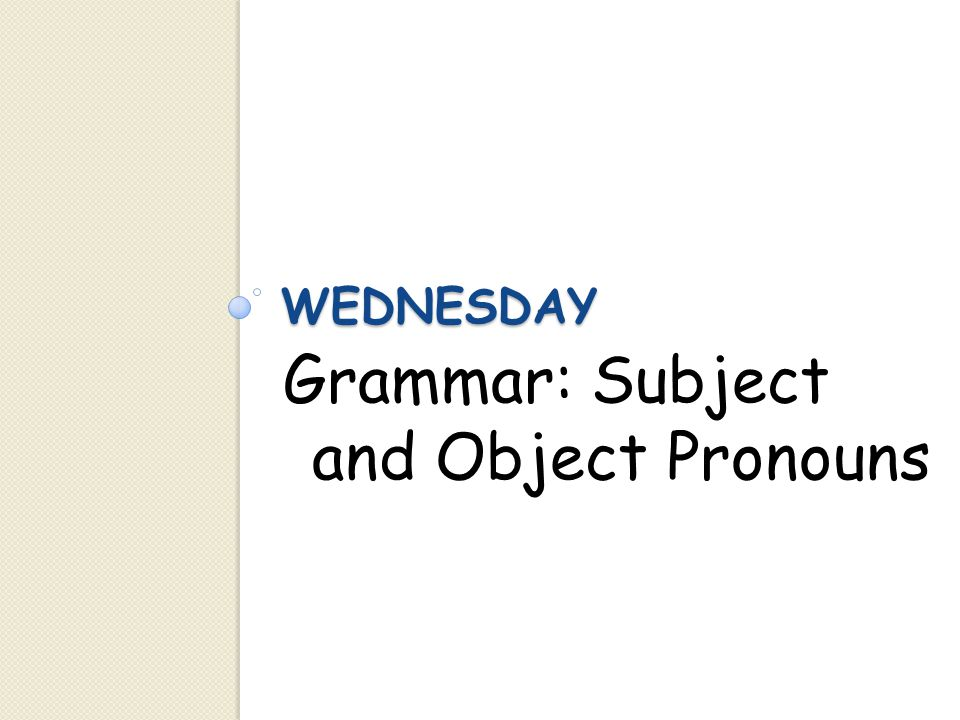 Grammar: Subject and Object Pronouns