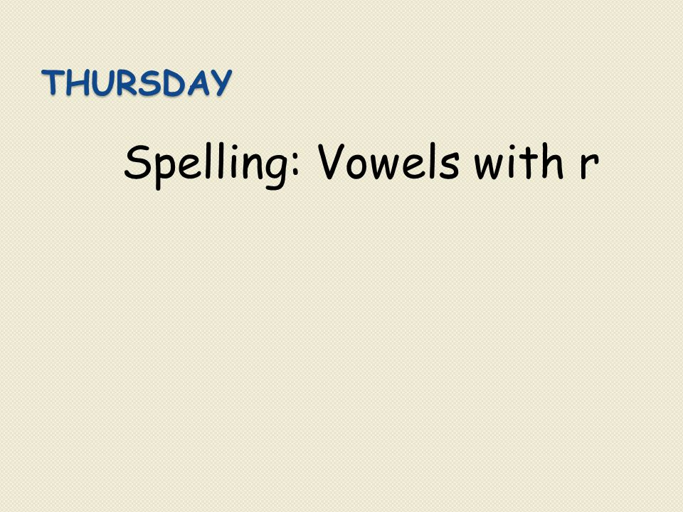Spelling: Vowels with r