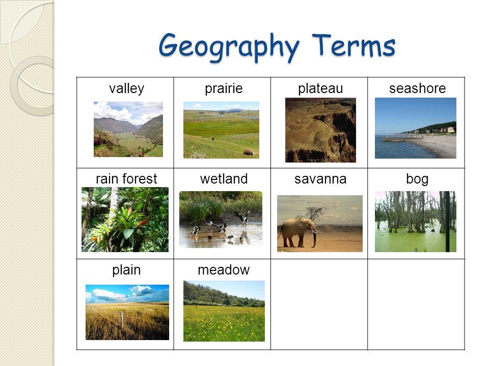 Geography Terms valley prairie plateau seashore rain forest wetland
