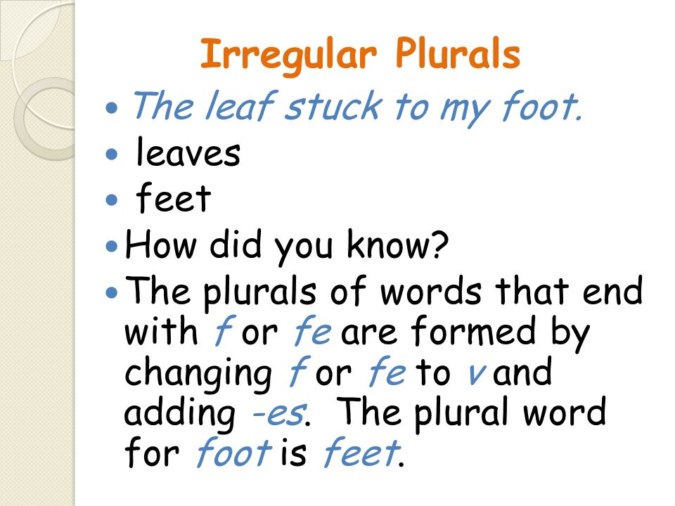 Irregular Plurals The leaf stuck to my foot. leaves feet