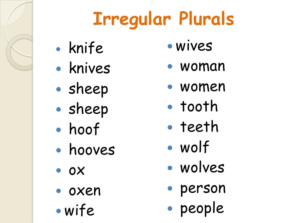 Irregular Plurals wives woman knives women sheep tooth teeth hoof wolf