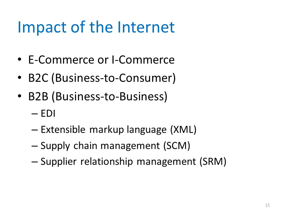 Impact of the Internet E-Commerce or I-Commerce