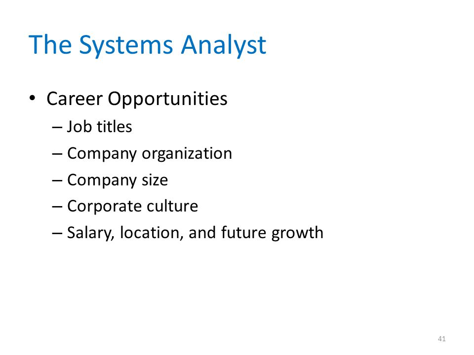 The Systems Analyst Career Opportunities Job titles