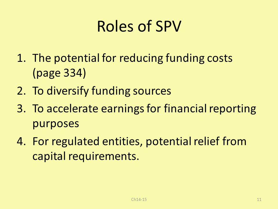 Roles of SPV The potential for reducing funding costs (page 334)