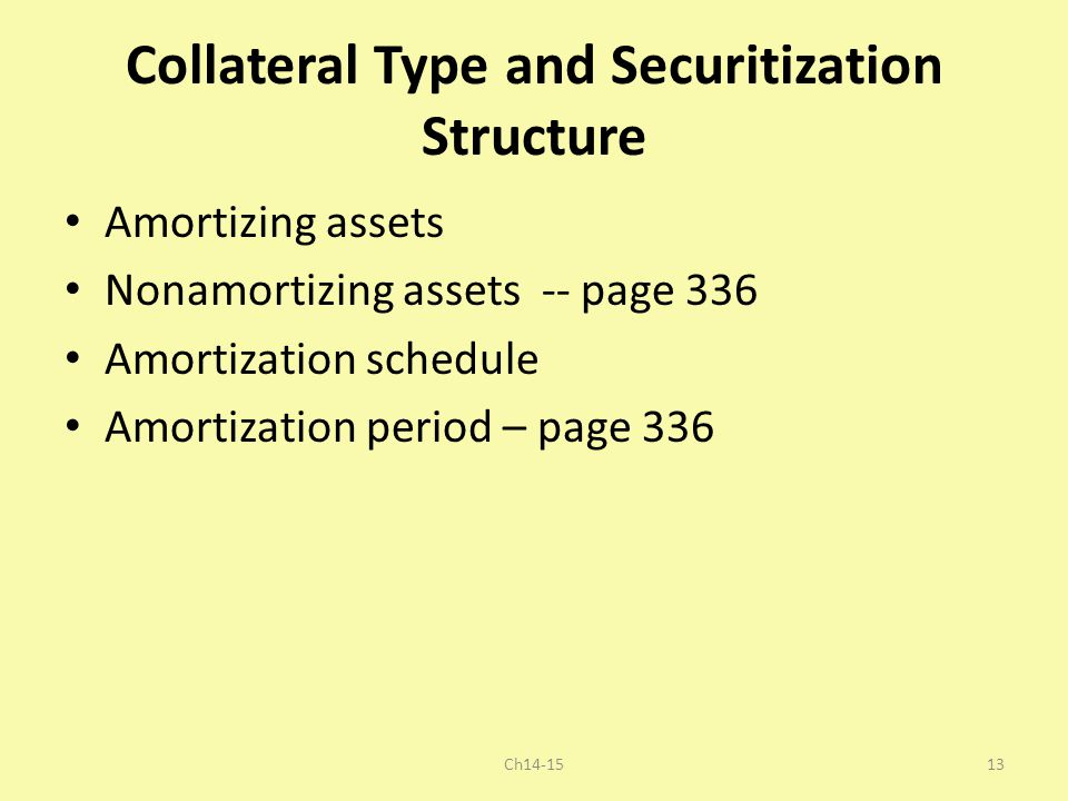 Collateral Type and Securitization Structure