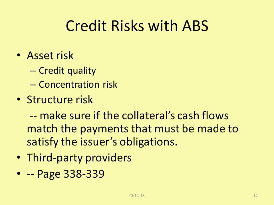 Credit Risks with ABS Asset risk Structure risk