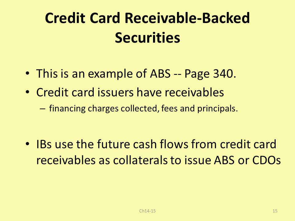 Credit Card Receivable-Backed Securities