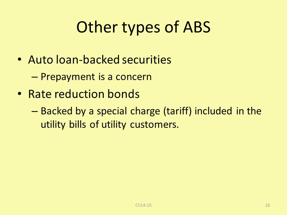 Other types of ABS Auto loan-backed securities Rate reduction bonds