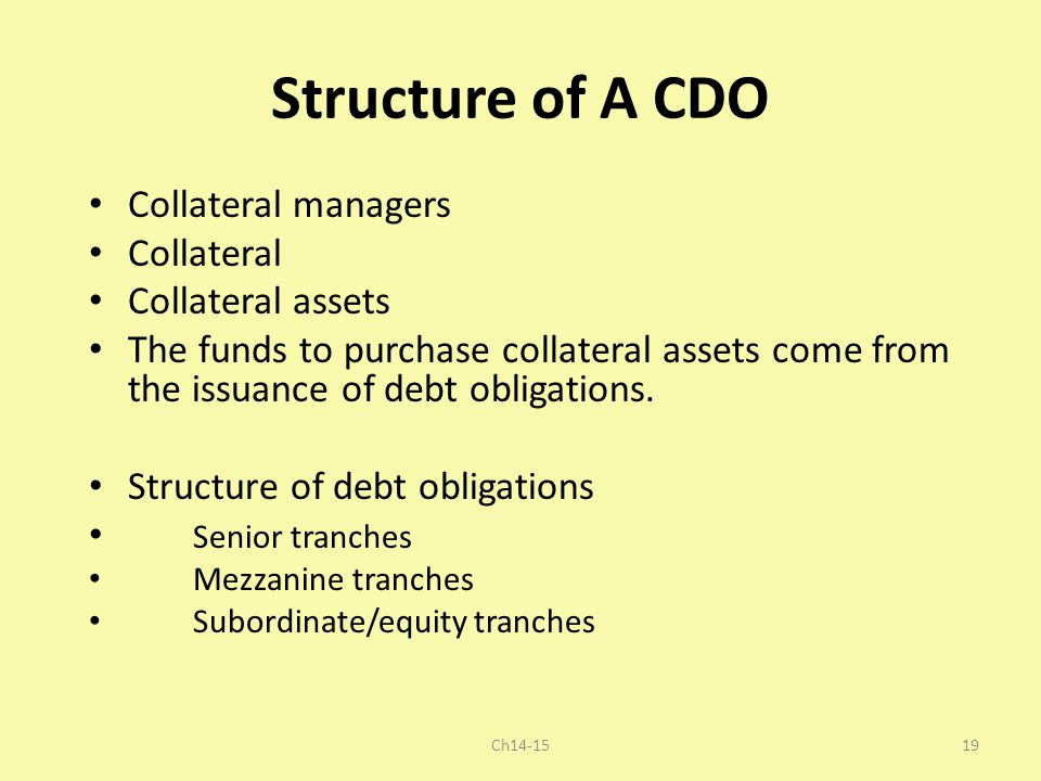 Structure of A CDO Collateral managers Collateral Collateral assets