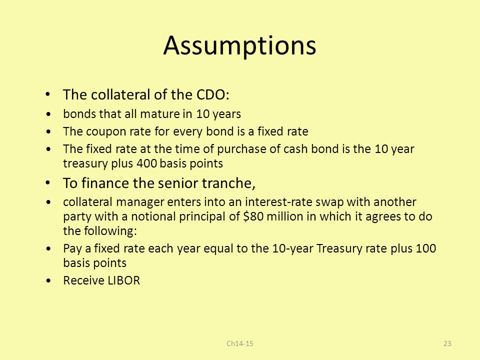 Assumptions The collateral of the CDO: To finance the senior tranche,
