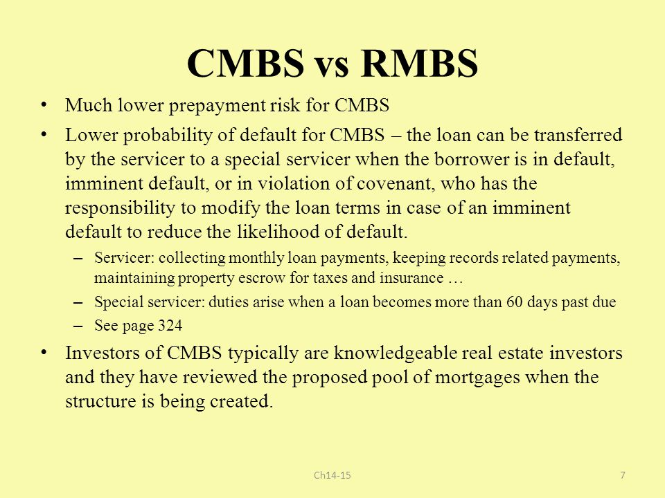 CMBS vs RMBS Much lower prepayment risk for CMBS