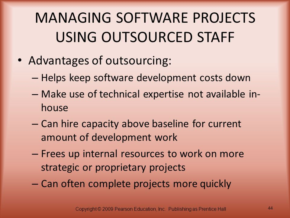 MANAGING SOFTWARE PROJECTS USING OUTSOURCED STAFF