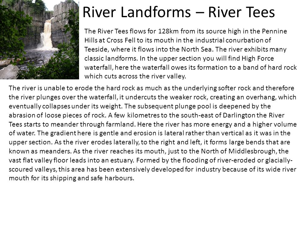 River Landforms – River Tees