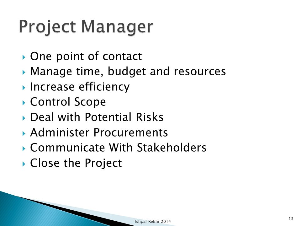 Project Manager One point of contact Manage time, budget and resources