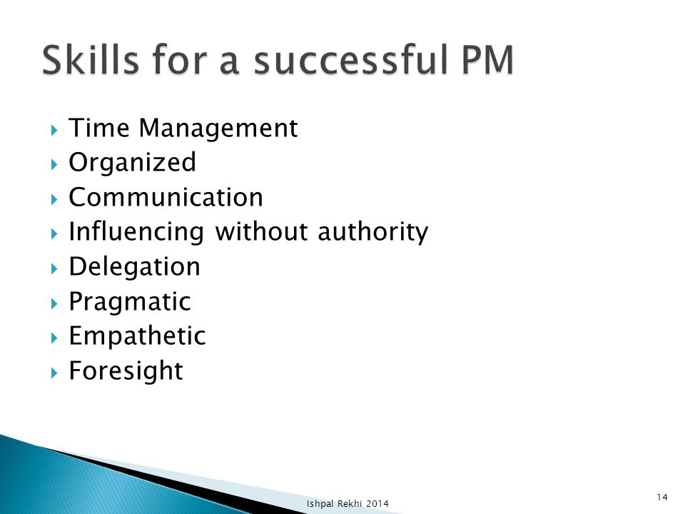 Skills for a successful PM