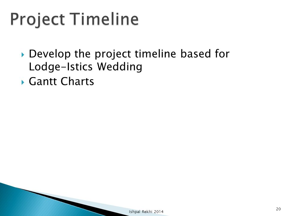 Project Timeline Develop the project timeline based for Lodge-Istics Wedding.