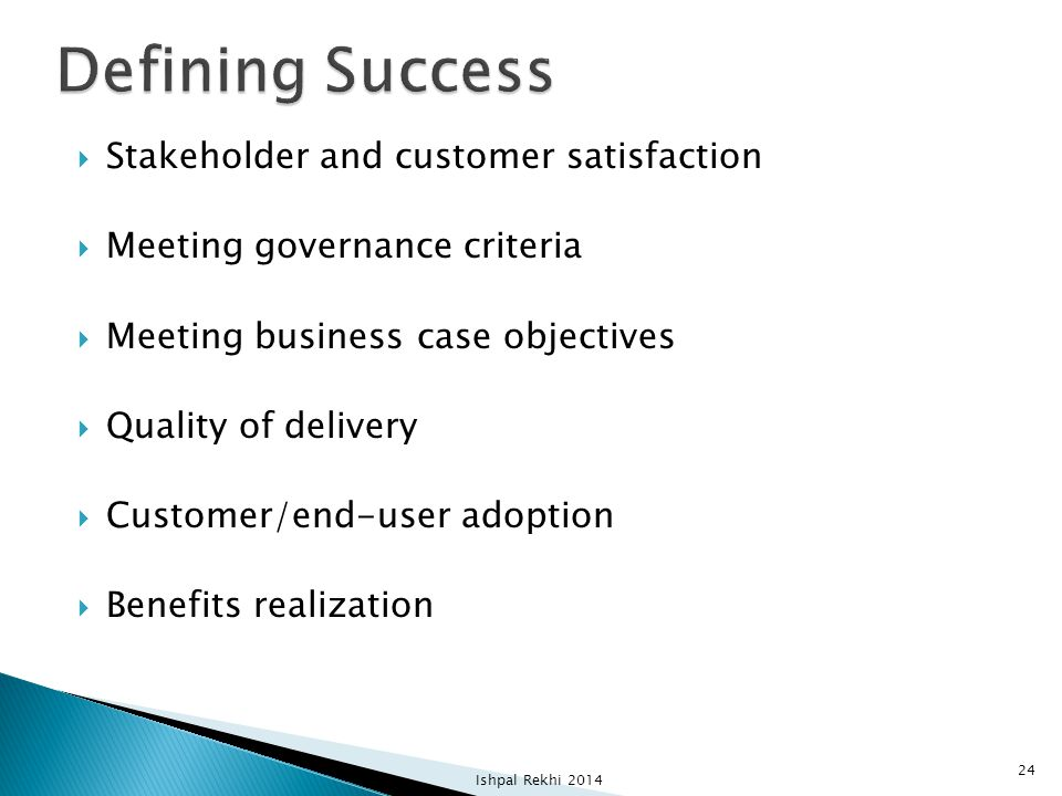 Defining Success Stakeholder and customer satisfaction