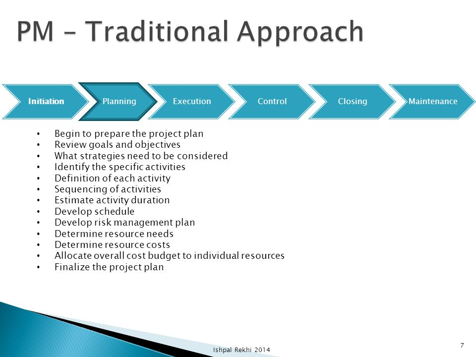PM – Traditional Approach
