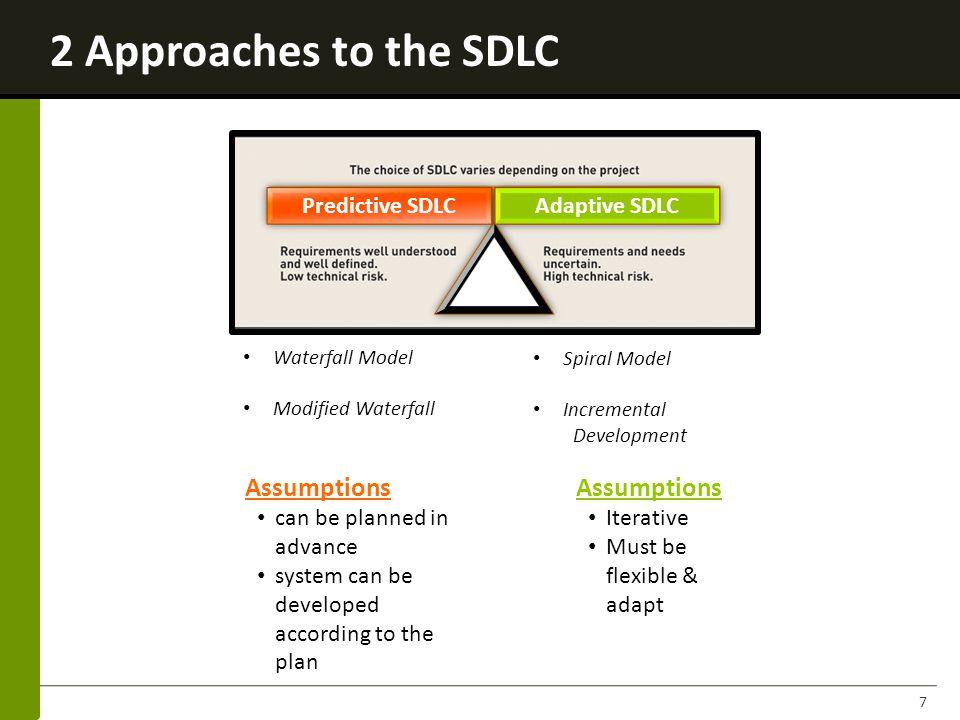2 Approaches to the SDLC Assumptions Assumptions Predictive SDLC
