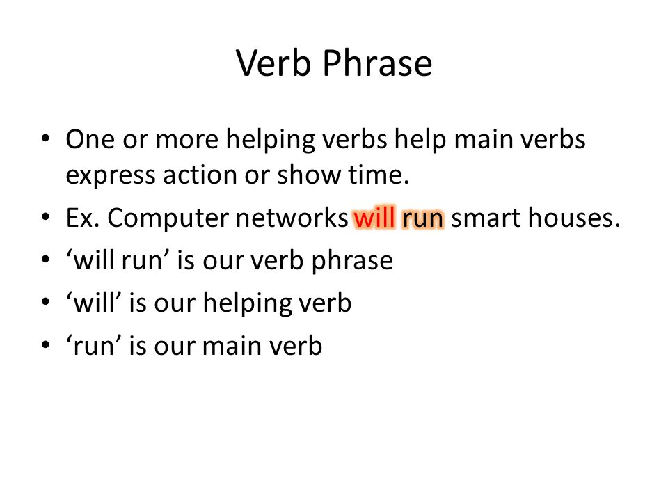 Verb Phrase One or more helping verbs help main verbs express action or show time. Ex. Computer networks will run smart houses.