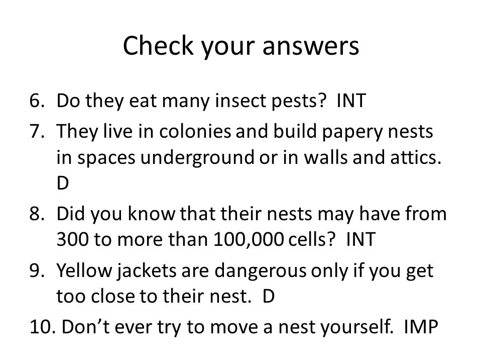 Check your answers Do they eat many insect pests INT