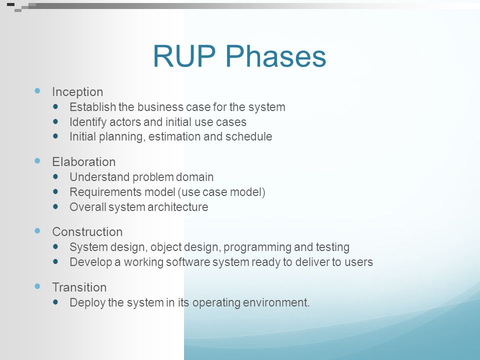 RUP Phases Inception Elaboration Construction Transition