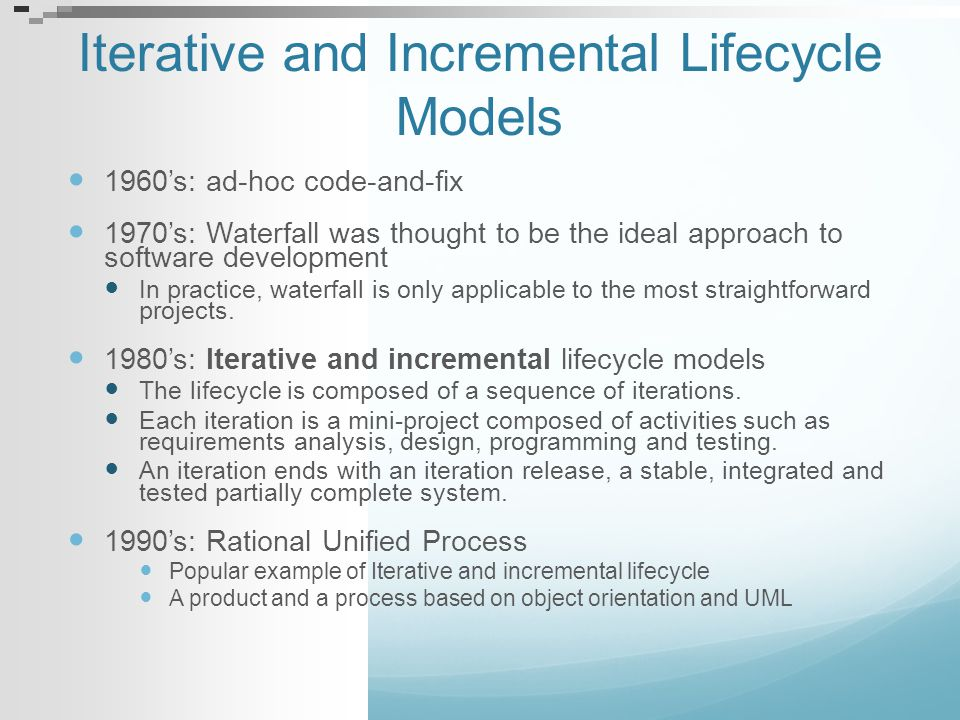 Iterative and Incremental Lifecycle Models