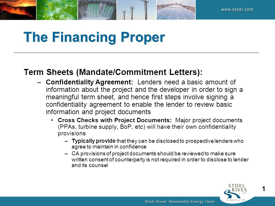 The Financing Proper Term Sheets (Mandate/Commitment Letters):