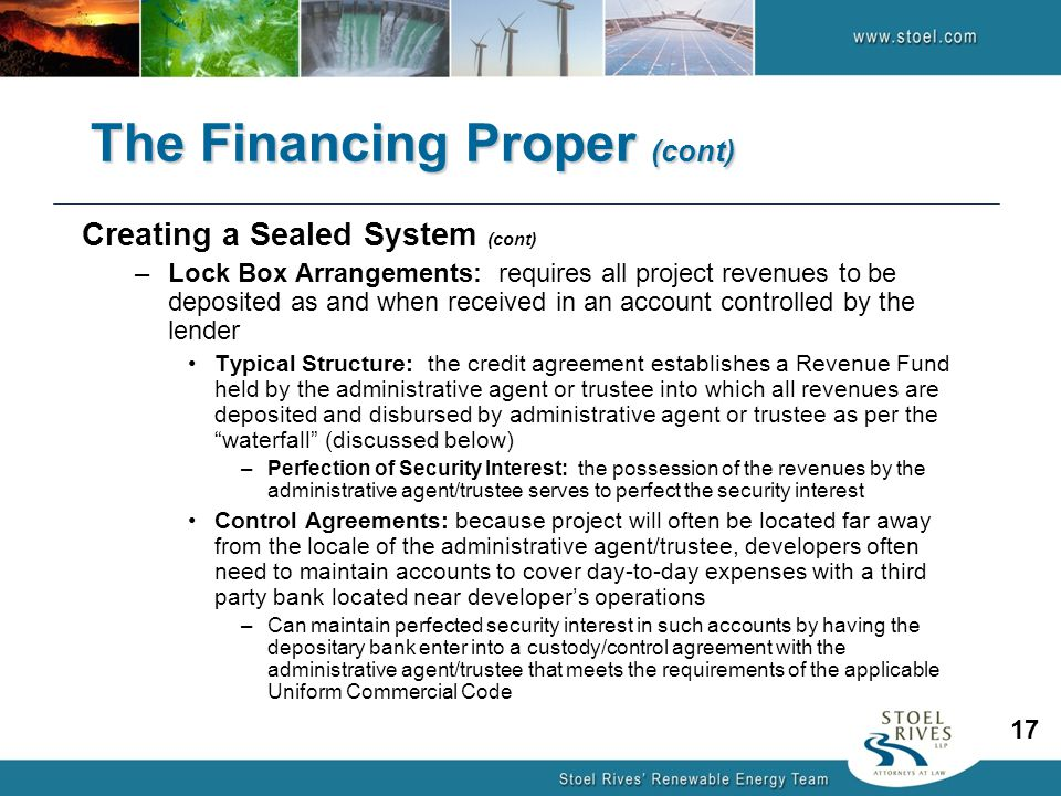 The Financing Proper (cont)