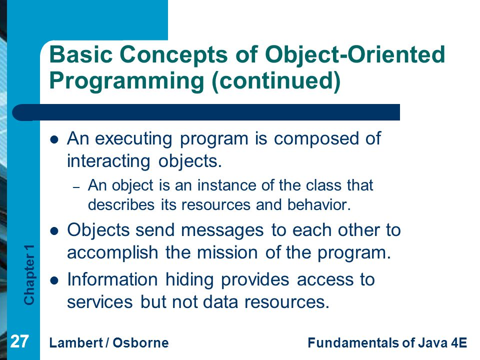 Basic Concepts of Object-Oriented Programming (continued)