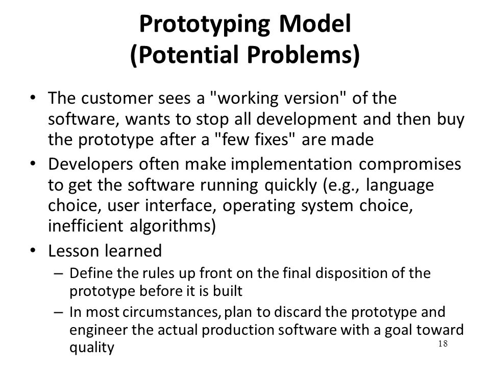 Prototyping Model (Potential Problems)